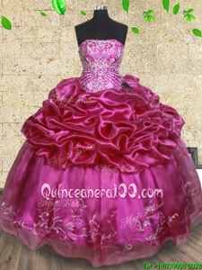 Customized Pick Ups Ball Gowns 15 Quinceanera Dress Fuchsia Strapless Organza Sleeveless Floor Length Lace Up