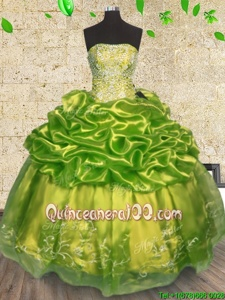 Latest Sleeveless Organza Floor Length Lace Up 15 Quinceanera Dress inOlive Green forSpring and Summer and Fall and Winter withBeading and Embroidery