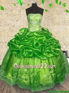Custom Made Spring Green Organza Lace Up 15 Quinceanera Dress Sleeveless Floor Length Beading and Embroidery