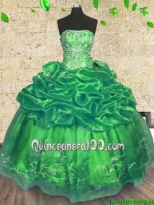 Free and Easy Green Sleeveless Floor Length Beading and Embroidery Lace Up Quinceanera Dress