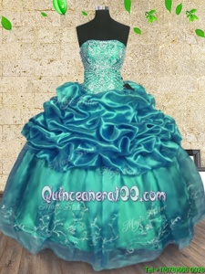 Super Floor Length Turquoise Ball Gown Prom Dress Organza and Taffeta Sleeveless Spring and Summer and Fall and Winter Beading and Ruffles