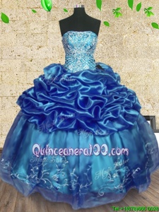Elegant Floor Length Ball Gowns Sleeveless Teal Sweet 16 Dress Lace Up