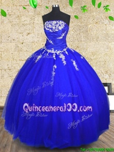 Luxury Royal Blue Strapless Lace Up Appliques and Ruching 15 Quinceanera Dress Sleeveless