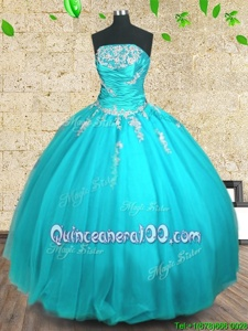 Glamorous Floor Length Lace Up Vestidos de Quinceanera Aqua Blue and In forMilitary Ball and Sweet 16 and Quinceanera withAppliques and Ruching