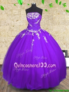Customized Sleeveless Appliques and Ruching Lace Up Quinceanera Dress