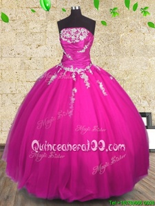 Hot Sale Fuchsia Sweet 16 Dresses Military Ball and Sweet 16 and Quinceanera and For withAppliques and Ruching Strapless Sleeveless Lace Up