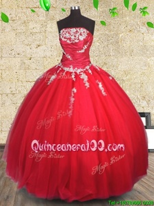 Romantic Red Tulle Lace Up Quinceanera Gowns Sleeveless Floor Length Appliques and Ruching