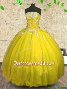 Fabulous Strapless Sleeveless Tulle Vestidos de Quinceanera Appliques and Ruching Lace Up