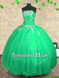 Customized Green Strapless Lace Up Embroidery and Ruching Ball Gown Prom Dress Sleeveless
