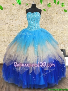 Edgy Spring and Summer and Fall and Winter Tulle Sleeveless Floor Length 15th Birthday Dress andBeading and Ruffles and Ruffled Layers