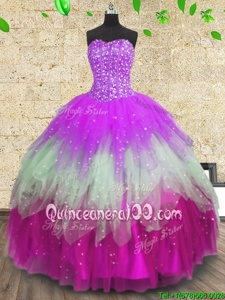 Fantastic Sleeveless Floor Length Beading and Ruffles and Ruffled Layers Lace Up Vestidos de Quinceanera with Multi-color