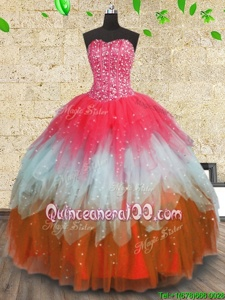 Delicate Multi-color Sleeveless Beading and Ruffles and Ruffled Layers Floor Length Quince Ball Gowns