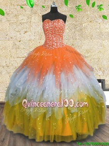 New Style Tulle Sweetheart Sleeveless Lace Up Beading and Ruffles and Sequins Quinceanera Gowns inMulti-color