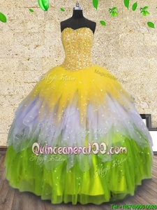 Excellent Multi-color Lace Up Sweetheart Beading and Ruffles and Sequins Ball Gown Prom Dress Tulle Sleeveless