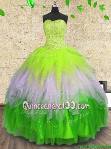 Sleeveless Beading and Ruffles and Sequins Lace Up 15 Quinceanera Dress