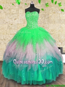 Multi-color Tulle Lace Up Sweetheart Sleeveless Floor Length Vestidos de Quinceanera Beading and Ruffles and Sequins