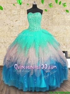 Luxury Multi-color Lace Up Sweetheart Beading and Sequins Sweet 16 Dresses Tulle Sleeveless