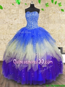 Lovely Sleeveless Tulle Floor Length Zipper Sweet 16 Dress inMulti-color forSpring and Summer and Fall and Winter withBeading and Sequins