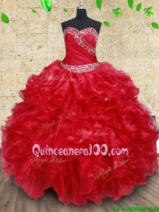 Charming Floor Length Red Quince Ball Gowns Sweetheart Sleeveless Lace Up