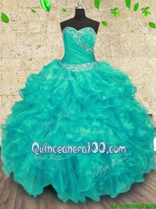 Beautiful Turquoise Sleeveless Organza Lace Up Quinceanera Dresses forMilitary Ball and Sweet 16 and Quinceanera