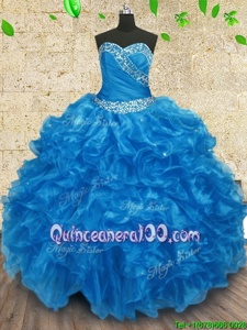 Sumptuous Baby Blue Ball Gowns Organza Sweetheart Sleeveless Beading and Ruching Floor Length Lace Up 15th Birthday Dress