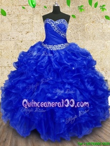 Dramatic Floor Length Royal Blue Vestidos de Quinceanera Organza Sleeveless Spring and Summer and Fall and Winter Beading and Ruffles and Ruching