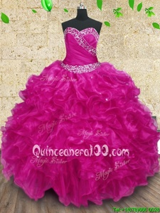 Fine Fuchsia Sweetheart Lace Up Beading and Ruffles and Ruching Quinceanera Dress Sleeveless