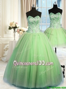 Traditional Three Piece Spring and Summer and Fall and Winter Organza Sleeveless Floor Length Sweet 16 Dress andBeading and Ruching