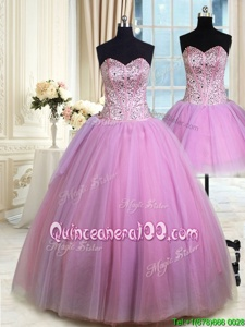 Artistic Three Piece Lilac Lace Up Quinceanera Gown Beading Sleeveless Floor Length