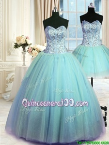 Customized Three Piece Sleeveless Beading Lace Up Quinceanera Dresses