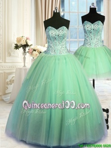Fantastic Three Piece Sweetheart Sleeveless Lace Up Quinceanera Gowns Spring Green Tulle