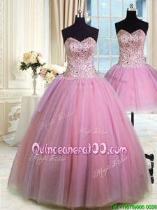 Adorable Three Piece Lavender Sweetheart Lace Up Beading Quince Ball Gowns Sleeveless