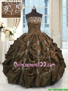 Decent Sleeveless Beading and Appliques and Embroidery and Pick Ups Lace Up Quince Ball Gowns