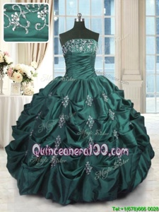 Great Peacock Green Taffeta Lace Up Ball Gown Prom Dress Sleeveless Floor Length Beading and Appliques and Embroidery and Pick Ups
