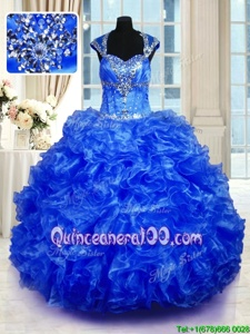 Glorious Royal Blue Cap Sleeves Organza Lace Up Quinceanera Gown forMilitary Ball and Sweet 16 and Quinceanera