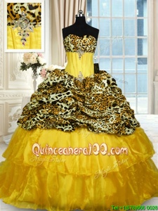 Customized Printed Lace Up Quinceanera Gown Gold and In forMilitary Ball and Sweet 16 and Quinceanera withBeading and Ruffled Layers Sweep Train
