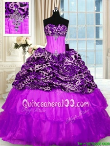 Exquisite Printed Purple Vestidos de Quinceanera Military Ball and Sweet 16 and Quinceanera and For withBeading and Ruffled Layers Strapless Sleeveless Sweep Train Lace Up