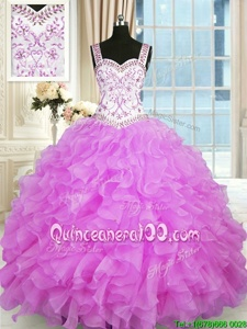 Gorgeous Beading and Ruffles Vestidos de Quinceanera Lilac Lace Up Sleeveless Floor Length