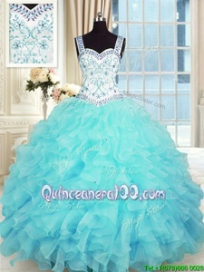 Sleeveless Lace Up Floor Length Beading and Appliques and Ruffles Ball Gown Prom Dress