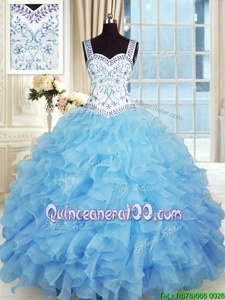Extravagant Spring and Summer and Fall and Winter Organza Sleeveless Floor Length Sweet 16 Quinceanera Dress andBeading and Appliques and Ruffles
