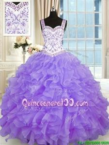 Attractive Lavender Organza Lace Up Quinceanera Gowns Sleeveless Floor Length Beading and Appliques and Ruffles