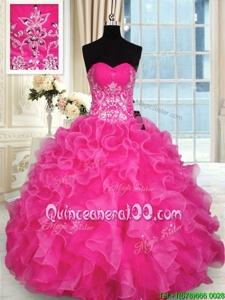 Hot Selling Hot Pink Sleeveless Beading and Appliques and Ruffles Floor Length 15th Birthday Dress