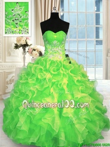 High Class Floor Length Spring Green Quinceanera Gown Sweetheart Sleeveless Lace Up