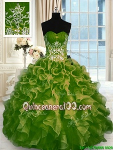 Nice Sleeveless Floor Length Beading and Ruffles Lace Up Ball Gown Prom Dress with Olive Green
