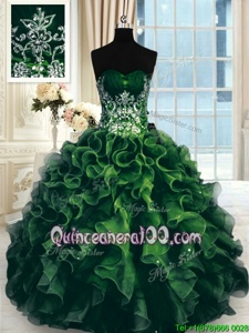 Customized Beading and Ruffles Ball Gown Prom Dress Multi-color Lace Up Sleeveless Floor Length