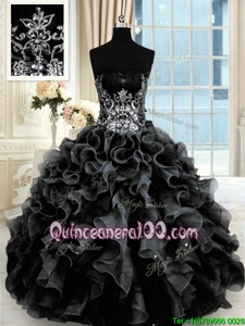 Black Organza Lace Up Quinceanera Dress Sleeveless Floor Length Beading and Ruffles
