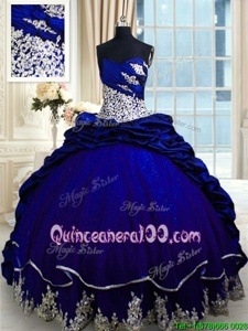 Unique Pick Ups Ball Gowns Sleeveless Royal Blue Ball Gown Prom Dress Brush Train Lace Up