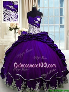 Dynamic Purple Sleeveless Beading and Appliques and Pick Ups Lace Up Vestidos de Quinceanera