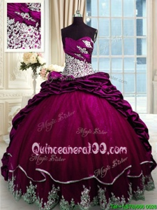 Amazing Sweetheart Sleeveless Vestidos de Quinceanera Brush Train Beading and Appliques and Pick Ups Fuchsia Taffeta