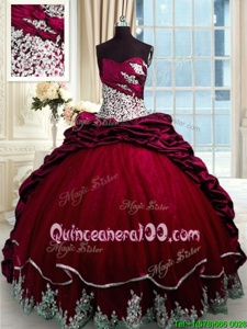 Comfortable Sweetheart Sleeveless Taffeta Ball Gown Prom Dress Beading and Appliques and Pick Ups Brush Train Lace Up
